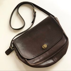 ** Coach ** vintage brown leather cross body bag